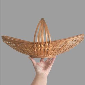 WICKER Gathering boho boat rattan basket handle